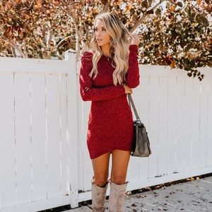 America's Sweetheart Long Sleeve Dress - Burgundy